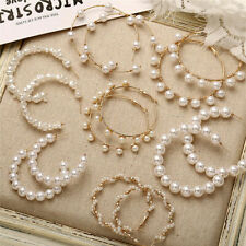 Women Girls Big Round Circle Hoop Earrings Geometric White Simulated Pearl New