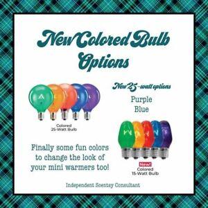 SCENTSY Light Bulb 15 20w 25 watt Purple Blue Yellow Red Clear Orange GRN Edison