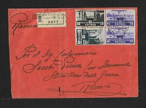 ERITREA TO ITALY MILITARY POST COVER 1935