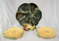 Vintage Shorter 1930s Apricot Green Fish Plates + Oyster Hors D'oeuvres Platter