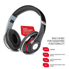 Bluetooth Noise Isolating Stereo Wireless Headphone Headset + Mic FM Radio MP3
