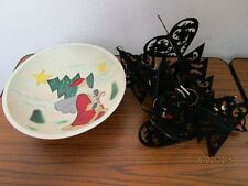 Weihnachtsdeko - bemalter Holzteller bzw. Schale + 6 Christbaumschmuck o.ä. /S60