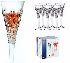 NEW SET OF 6 RCR ENIGMA FLUTE CLEAR CRYSTAL CHAMPAGNE GLASSES 7 OZ-ITALY