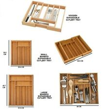 BAMBOO OR WOODEN EXTENDING CUTLERY TRAY ORGANISER EXPANDABLE DRAWER STORAGE BOX