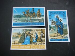 Jordan 1966 Christmas Set of 3 Stamps Imperf MH SG 771-3 High Cat