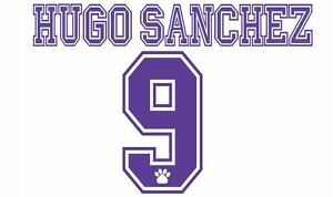No 9 Hugo Sanchez Real Madrid 1996-1998 Home Football Nameset for shirt