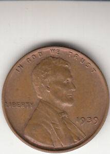 U.S. 1939 Lincoln Wheat Penny - American One Cent Coin