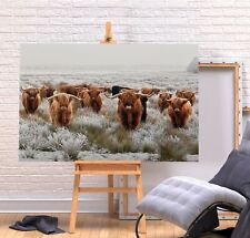 HERD HIGHLAND COWS 1 - DEEP FRAMED CANVAS WALL ART PICTURE PRINT- BROWN GREY