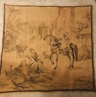 """Antique Tapestry 50""""x46 1/2"""" Middle Eastern Bazaar Scene Egypt Persia?"""