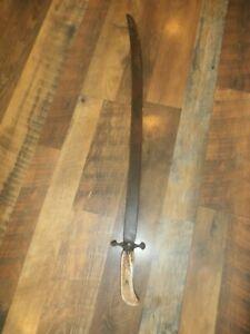 Antique Stag Bone Antler Handled Single Edged Sword w/ Curved Blade Saber