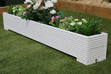 GREAT WOODEN GARDEN PLANTER TROUGH 150cm LENGTH DECKING PAINTED VALSPAR WHITE