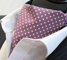Hanky Cravate Ascot UK Made Prune//Blanc Polka Dot Premium Coton.