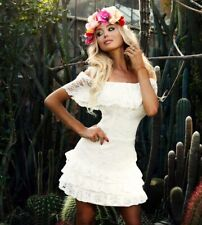JUST UNIQUE White summer beach casual Swing Shift Ruffle Frill lace dress M