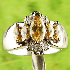 Marquise Cut Morganite & White Topaz Gemstone Silver Ring Size 8 Free Shipping