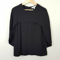 [ COUNTRY ROAD ] Womens Black Cape Detail Blouse Top   Size S or AU 10 / US 6