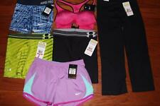 "LOT NIKE & UNDER ARMOUR WOMENS CAPRIS SHORTS SPORTS BRA UA STUDIO MID 5"" XS NEW"