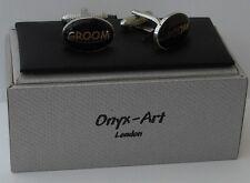 GROOM BLACK/SILVER CUFFLINKS ONYX ART OF LONDON WEDDING XMAS MENS CK 52