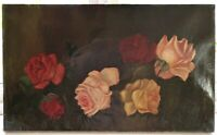 ANTIQUE ORIGINAL OIL PAINTING FLORAL ROSES VICTORIAN COUNTRY FOLK ART PRIMITIVE