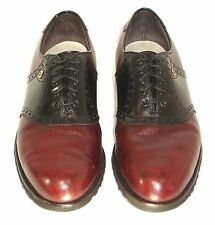 Footjoy Classics Mens Spikeless Golf Shoes Black on Burgundy USA 9C Leather
