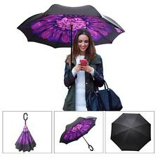 C-Handle Double Layer Umbrella Windproof Folding Inverted Upside Down Reverse ne