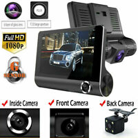 "4"" Car DVR 3 Lens Dash Cam Front and Rear 1080P Video Recorder Camera Kit"