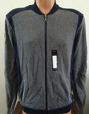 Mens Size Small S GUESS Alfie Full Zip Mock Gray Blue Cotton Sweater X44R05Z10S0