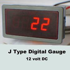 J type numérique de température jauge, compteur 12V DC, celsius ou fahrenheit.