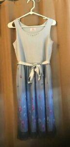 Justice Girls Size 20 dress blue sheer floral overlay