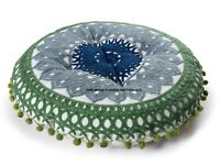 Indian Suzani Embroidered Round Chair Seat Pad Pillow Cushion Pad Floor Cushion