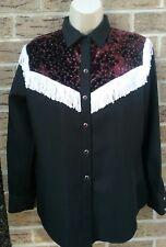 H Bar C Snap Western Shirt Velvet Fringe Black Burgundy White Vintage 70's