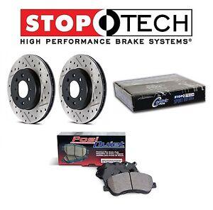 For Honda Civic Acura Rear Drilled Slotted Brake Rotors Set PQ Ceramic Pads