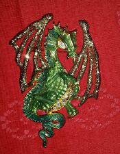 KIRKS FOLLY DRACO 2000 DRAGON PIN BROOCH RARE GOLD WINGS GRN ENAMEL HOLIDAY GIFT