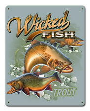 """""""Trout"""" Wicked Fish Metal Sign - Hand Made in the USA with American Steel"""