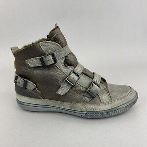 ECCO Ladies Leather Hi Top Buckles Fur Trim Sneakers Trainers Shoes Size 39 UK6