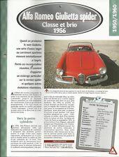 VOITURE ALFA ROMEO GUILIETTA SPIDER PININFARINA FICHE TECHNIQUE AUTO 1956