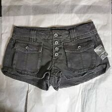 Free People Cora Button Front Denim Cargo Shorts Deep Soil Black Size 25