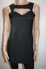 Lioness Brand Black Textured Cut Out Back Bodycon Dress Size 12 BNWT #SO09