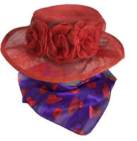Womens Red Straw Hat and Society Scarf Wide Brim w/ Roses Races Church Garden