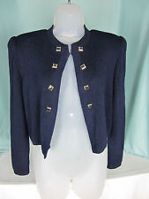 St John by Marie Gray  Sweater Small Navy Blue Long Sleeves Open Front EPOC