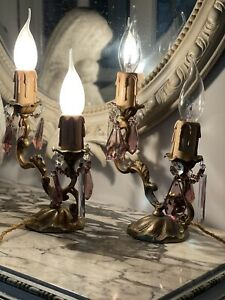 Antique Vintage French Brass Candelabra Pair Of Lamps Table Lamps Bedside Lamps