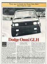 1984 Dodge Omni GLH Shelby Original Car Review Report Print Article J847