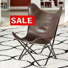 Butterfly Chair BKF Brown Leather Retro Metal Industrial  Armchair- UK SELLER