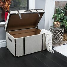 Contemporary Grey Upholstered Storage Trunk