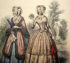 LE FOLLET 1845 Hand-Colored Fashion Plate #1249 Lovely Gowns & Robe PRINT