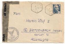 U.S. CIVIL CENSORSHIP GANNES OISE FRANCE ALLEMAGNE GERMANY DEUTSCHLAND 1946