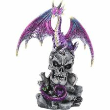 Purple Dragon Guarding Skull Figurine Fantasy Ornament Statue Home Office Gift