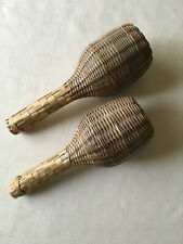 2 African - Musical Instruments - Woven Straw Shakers Rattles