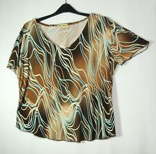 BROWN BLUE GEOMETRIC LADIES CASUAL TOP BLOUSE STRETCH SIZE XL MICHELE MONET