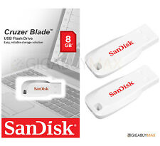 Lot of 2 SanDisk Cruzer Blade 8GB USB 2.0 Flash Memory Pen Drive Stick Pack