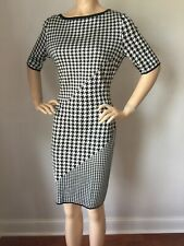 NWT St John Knit dress Size 10 black Caviar cream houndstooth wool rayon